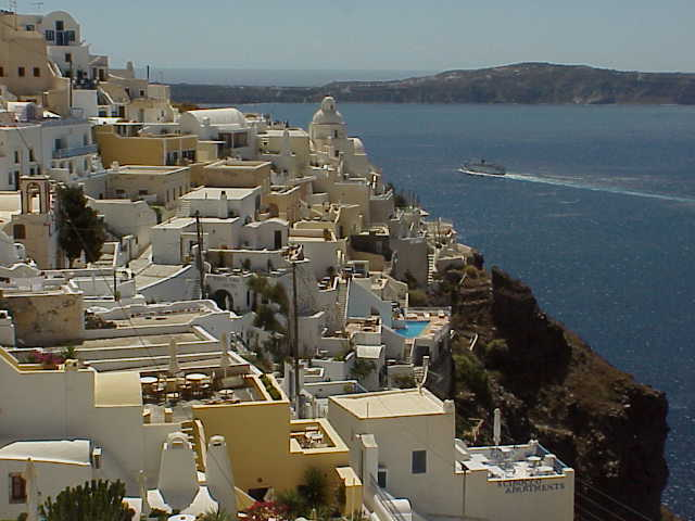 hotels & cafes on hillside, Fira