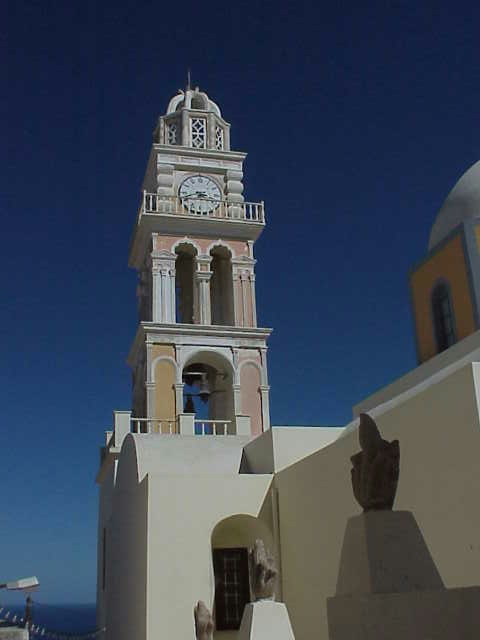 Cathedral clock tower, Fira