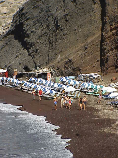 Red Beach, beach chairs, Akrotiri