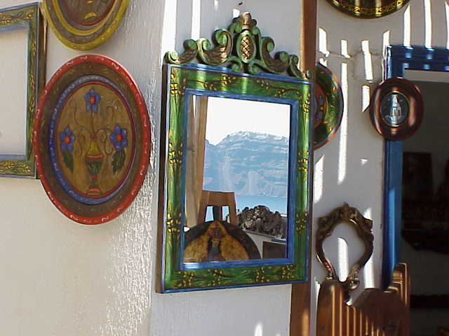 Mirror, wood carver's shop, Oia