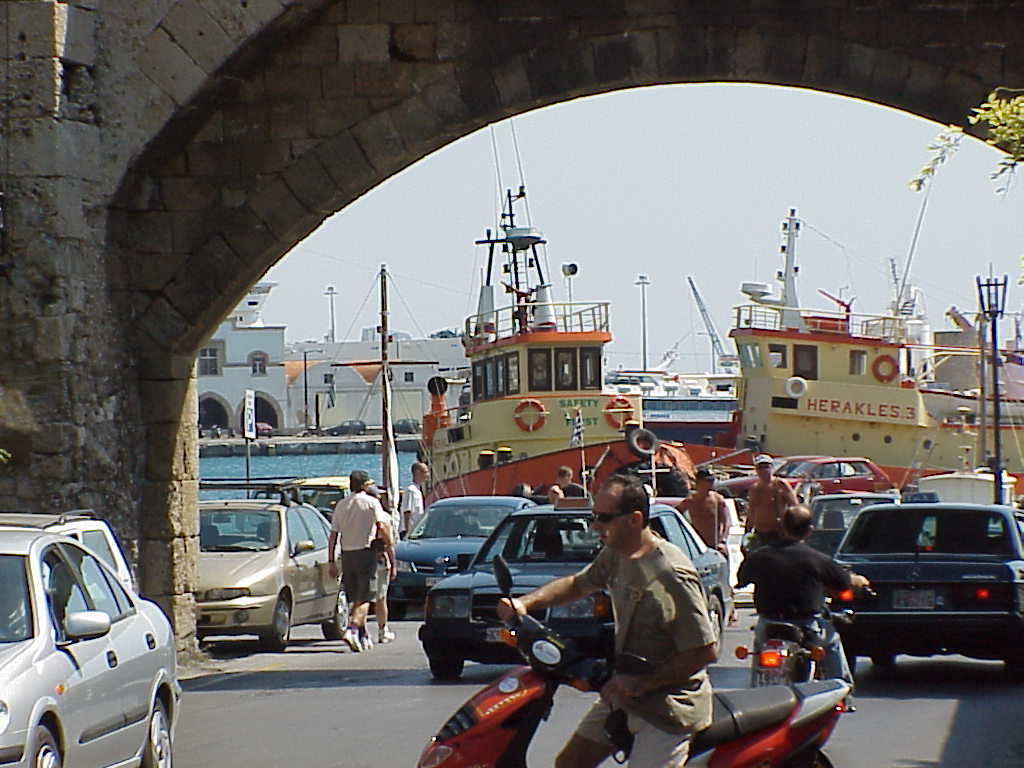 City Gate with tugboats, Rhodos
