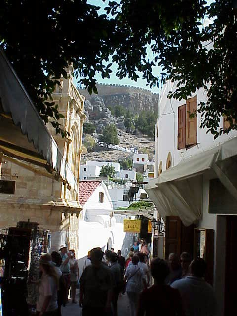 Shops with Acropolis in bkgd, Lindos