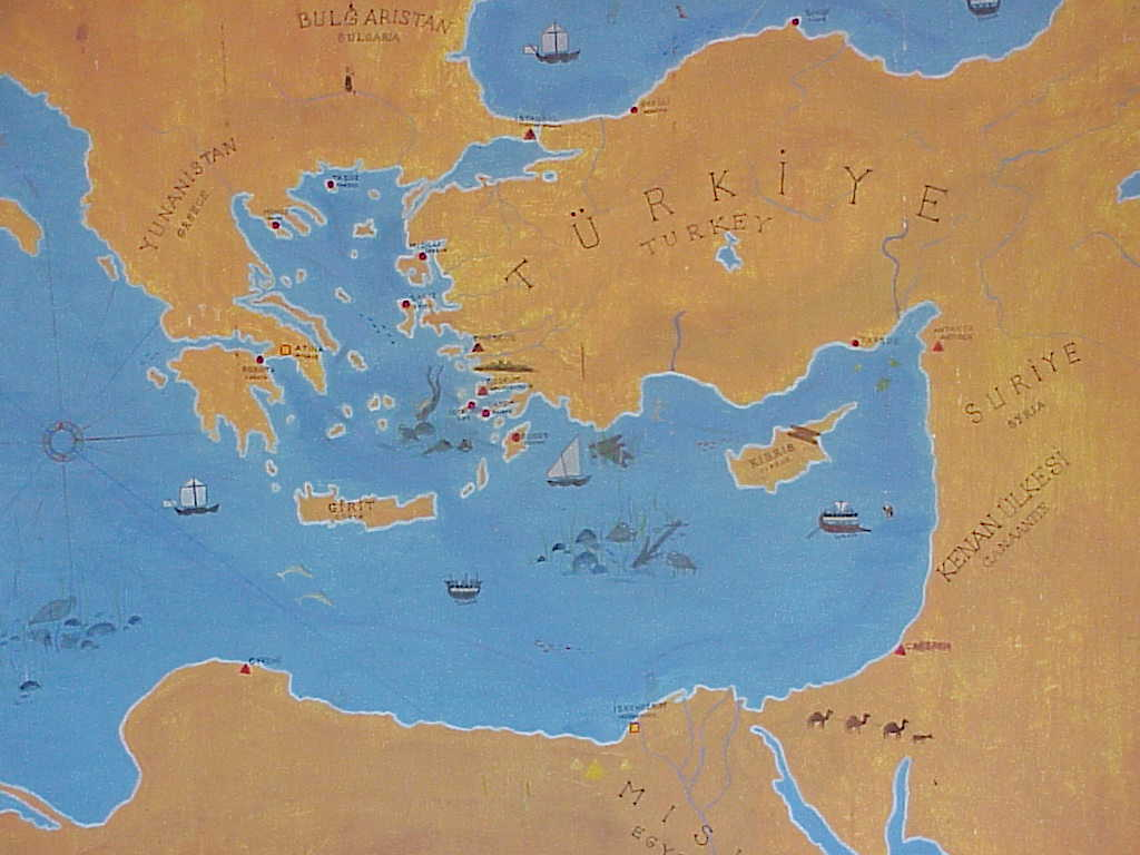 Map of Greece, Turkey, Egypt,   Bodrum Castle,   Bodrum Turkey