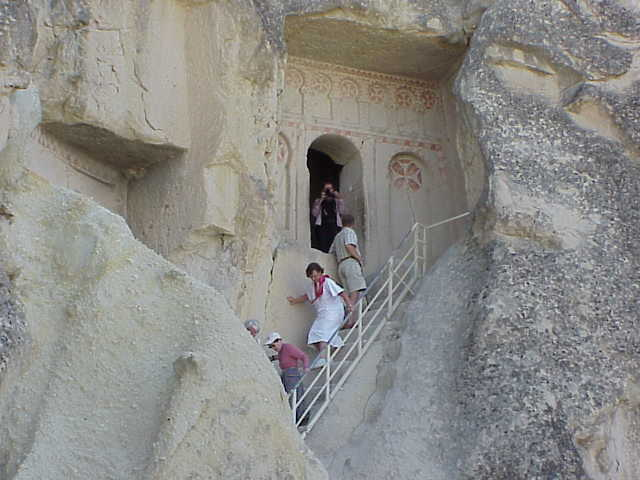 Exiting cave church,       Open Air Museum, Goreme