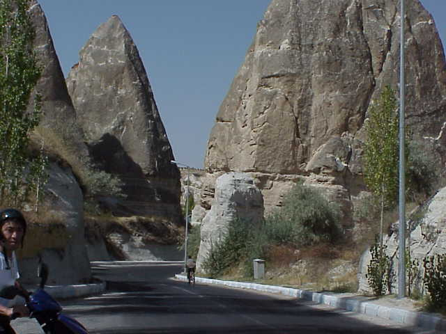 Road, rock formations,             Goreme