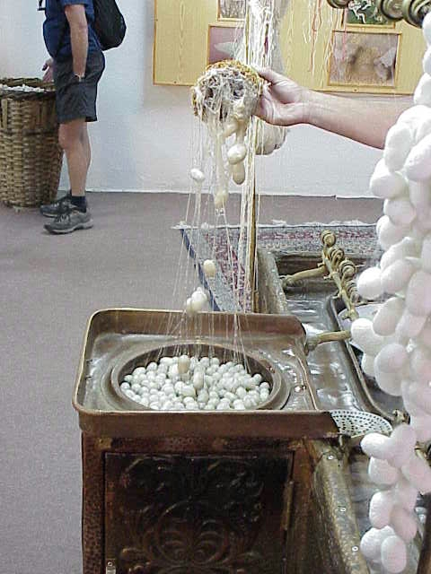 Extracting silk from cocoons,              Ortihisar