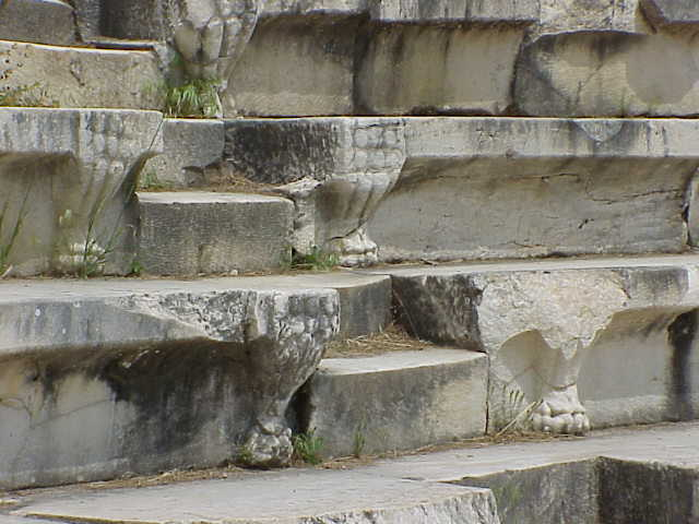 Lion paw steps, detail, Odeon