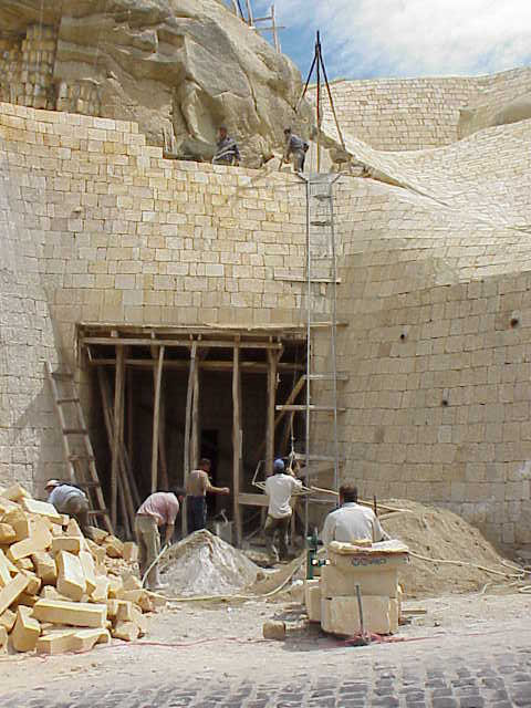 Restoring fa�ade, Blue Church  Goreme Open Air Museum Cappadocia