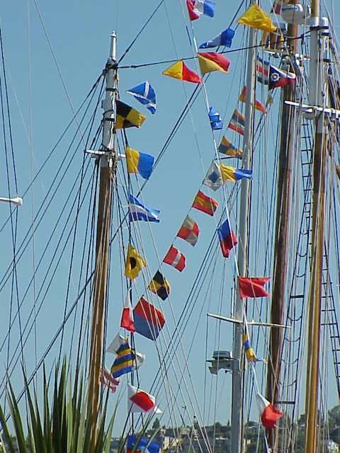 Flags on boats    Tall Ships Festival