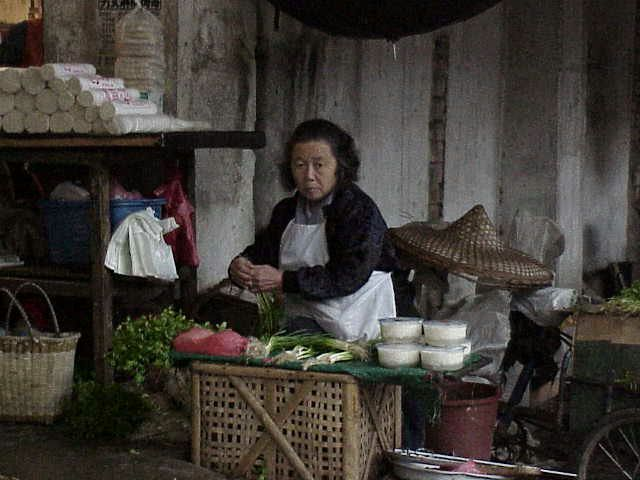 Woman selling vegetables  Market  Guilin
