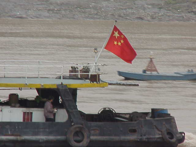 Tugboat with Chinese flag, Yangtze River