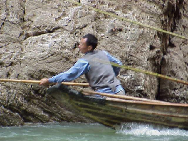 Using poles to keep from walls    , Shennong Stream, Badong