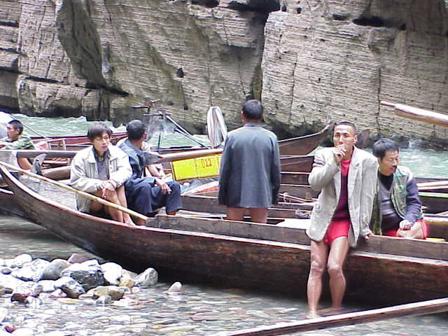 Boatmen take a smoke break        , Shennong Stream, Badong