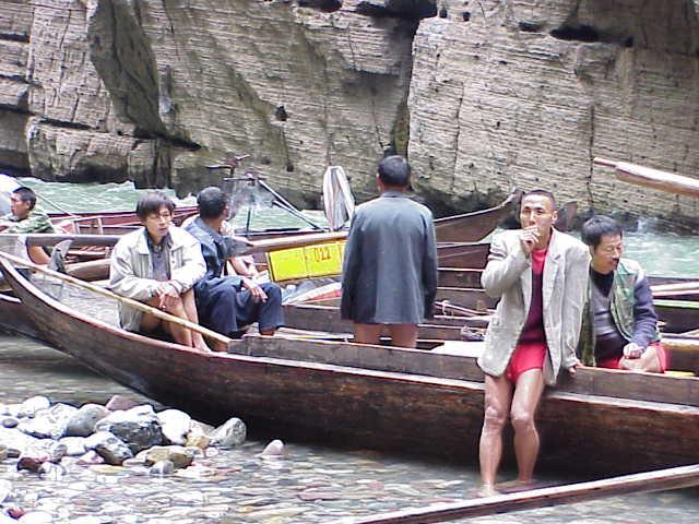 Boatmen take a smoke break        , Shennong Stream, Badong