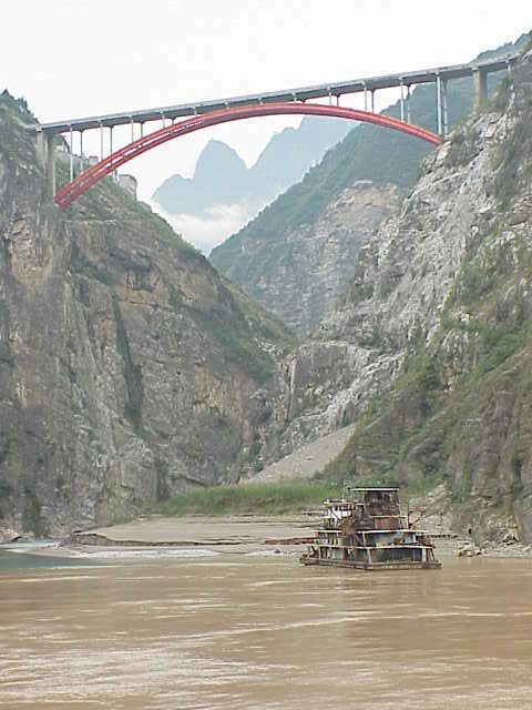 Bridge and tributary stream,       Yangtze River
