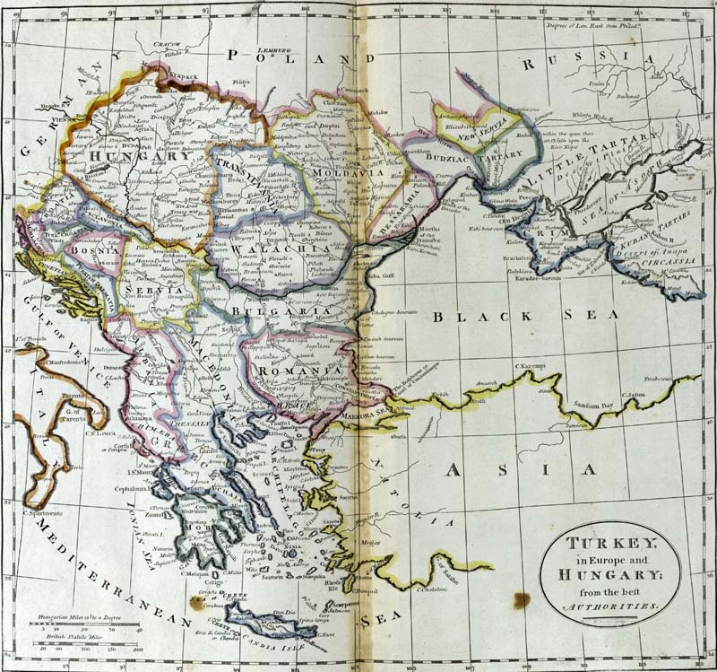 Antique map of Turkey in Europe and Hungary