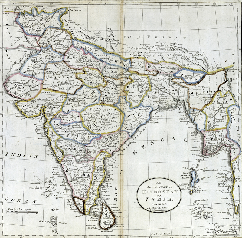Antique map of Hindostan or India
