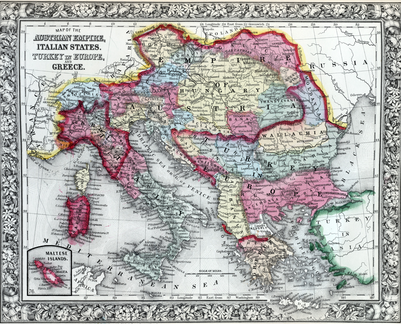 Antique map of the Austrian Empire, Italian States and Turkey in Europe and Greece