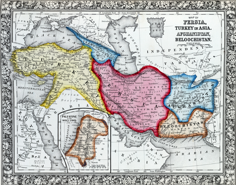 Antique map of Persia, Turkey in Asia. Afghanistan, Beloochistan