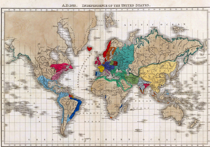Map of the World at Independence of the United States in 1783