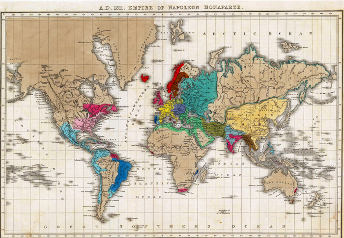 Map of the World showing Napoleon's Empire in 1811