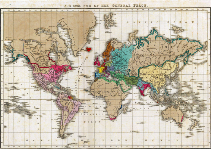 Map of the World at the end of the General Peace in 1828
