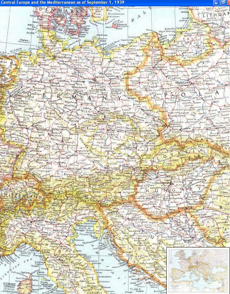 Cascoly map 1939 central europe Maps for Sale