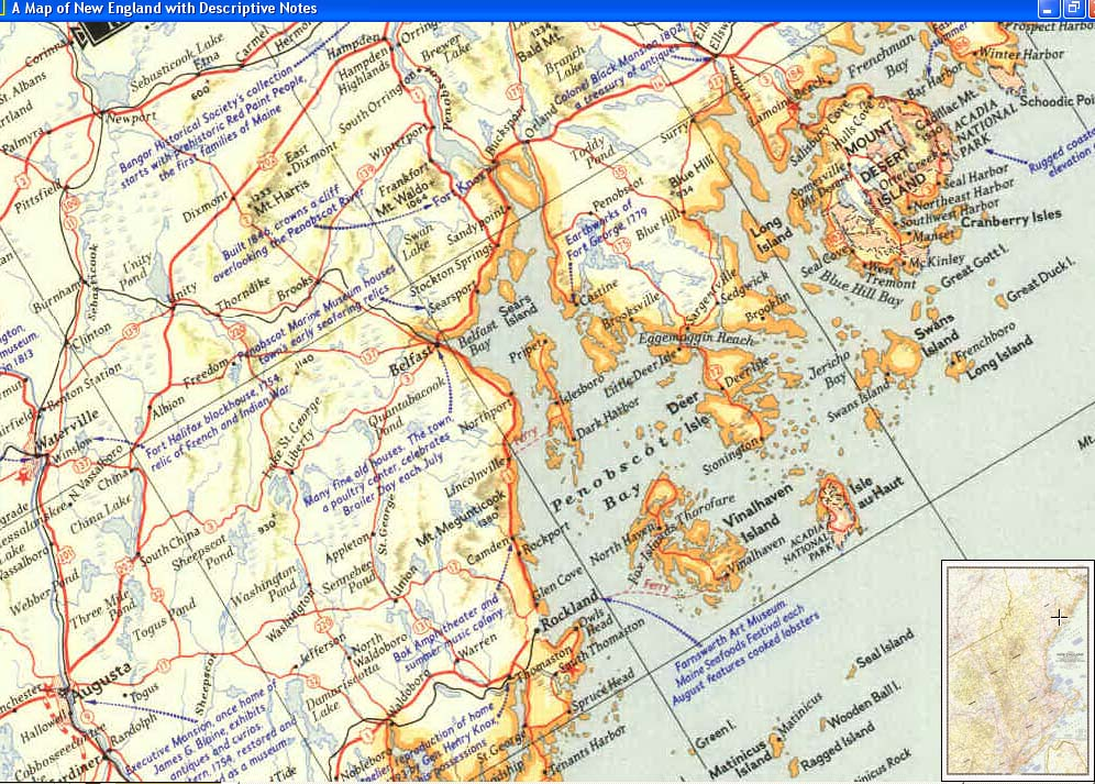 Map - 1955 - A Map of New England with Descriptive Notes<br>43 x 29 5/8
