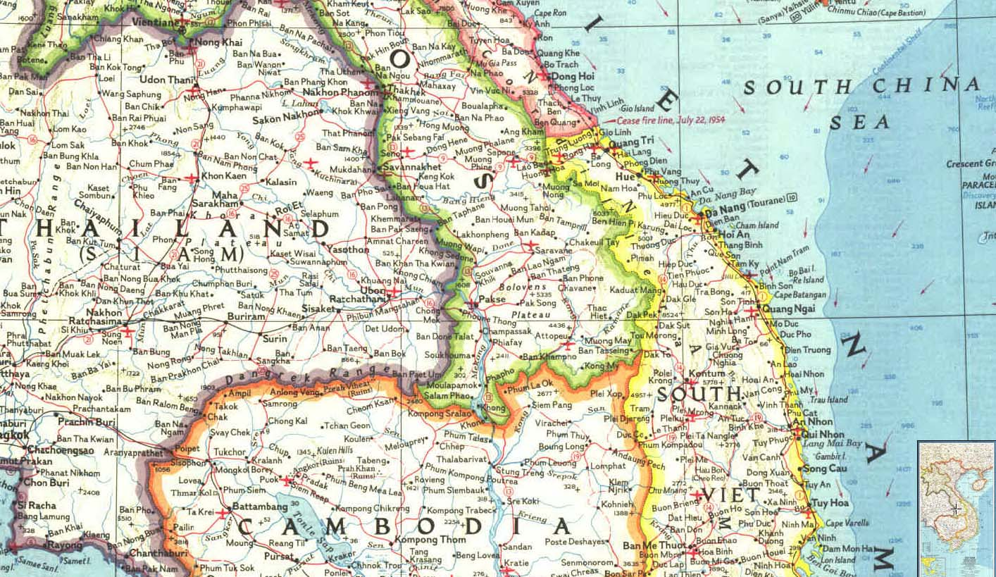 Map - 1965 - Viet Nam, Cambodia, Laos, and Eastern Thailand<br>20 1/2 x 11 1/2