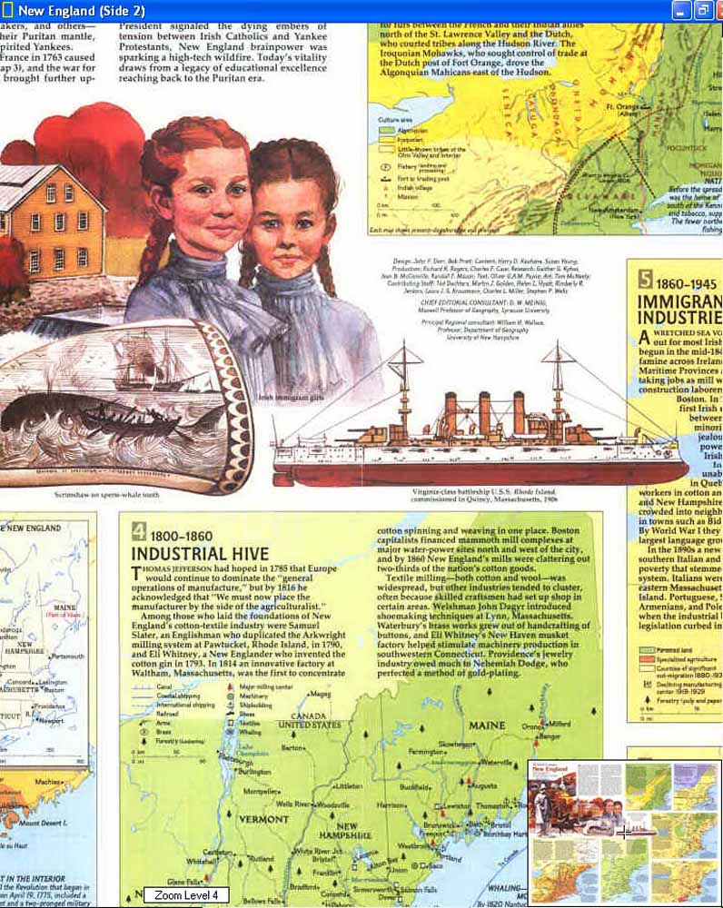 Map - 1987 - Making of America: New England<br>27 1/8 x 20 5/8
