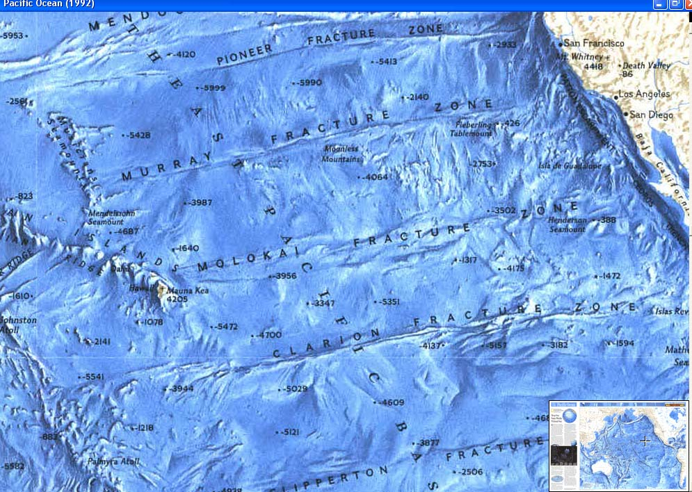 Map - 1992 - World Ocean Floors - Pacific Ocean <br>20 1/2 x 31 1/2