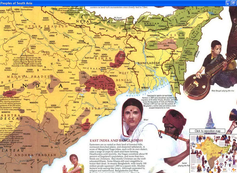Map - 1984 - Peoples of South Asia<br>23 x 28 1/2